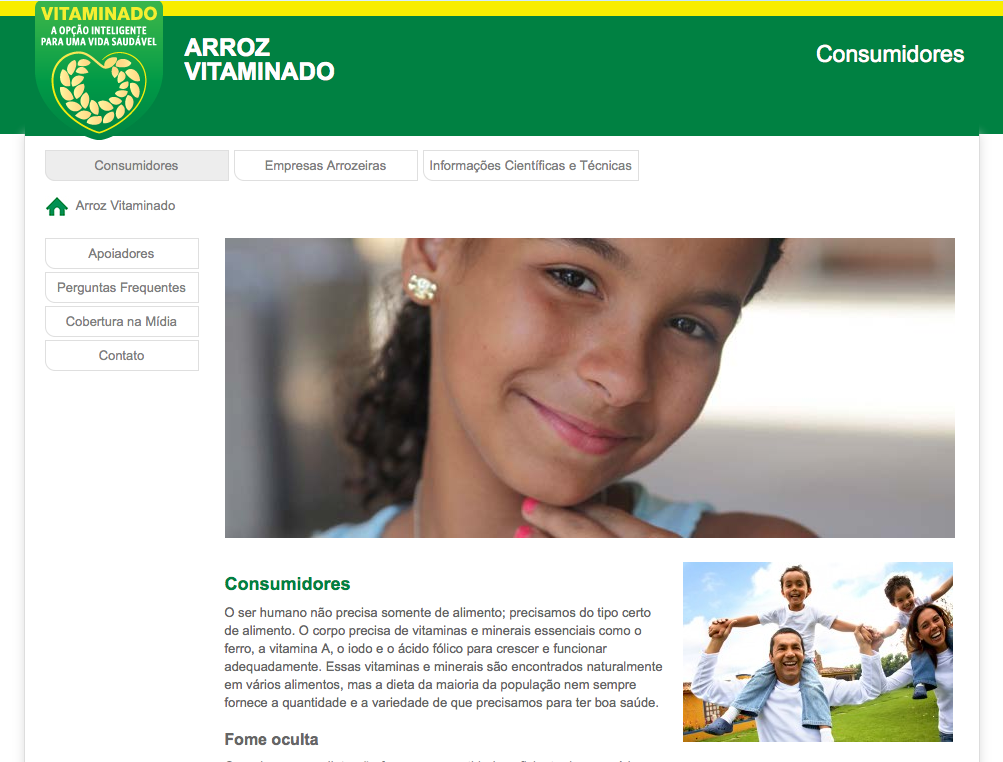 Arroz Vitaminado - Wordpress website design in Brazil