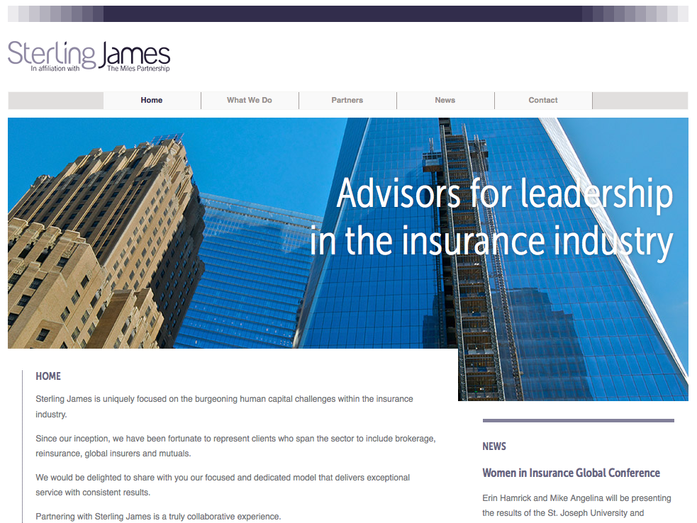 London Wordpress Website Design by DJA for Sterling James, New York